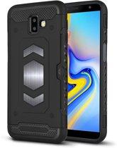 Ntech Samsung Galaxy J6 Plus (2018) Luxe Armor Case Pashouder - Zwart