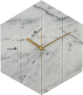 Karlsson Marble Hexagon - Wandklok - Marmer - Wit