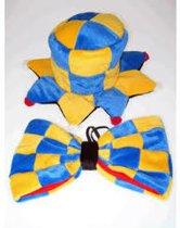 Clowns hoedje met strik blauw/geel