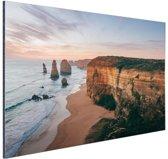Foto van strand met klif Aluminium 120x80 cm - Foto print op Aluminium (metaal wanddecoratie)