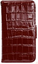 iPhone 5/5s/5se Leather Wallet Case -  Dark Red Croc