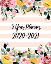 2 Year Planner 2020-2021: Beauty Flowers, January 2020 to December 2021 Monthly Calendar Agenda Schedule Organizer (24 Months) With Holidays and