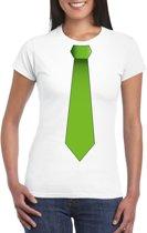 Wit t-shirt met groene stropdas dames L