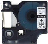 1x Compatible voor Dymo 40913 Standard Label Tape - Zwart op Wit - 9mm x 7m