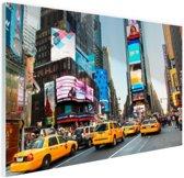Times Square gele taxis foto afdruk Glas 30x20 cm - Foto print op Glas (Plexiglas wanddecoratie)