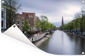 De Prinsengracht van Amsterdam bij daglicht Tuinposter 90x60 cm - Tuindoek / Buitencanvas / Schilderijen voor buiten (tuin decoratie)