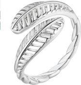 Zilveren veren ring- Verstelbaar-