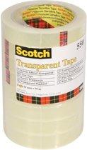 4x Scotch transparante tape 550 19mmx66 m, pak a 8