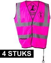 4x Roze veiligheidsvestje party girls voor dames - Vrijgezellenfeest/vrijgezellenparty - Drankfeest