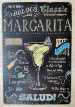 Wandbord Cocktail Margarita Metaal Muur Decoratie Eten & Drinken Emaille Vintage Retro Tekst Metalen Reclame Bord  - Metal Tin Sign - Vitch!™
