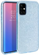 Samsung Galaxy A51 Hoesje - Siliconen Glitter Backcover - Blauw