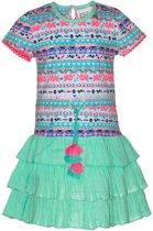 Mim-pi Meisjes Jurk - Blauw met multicolor - Maat 134