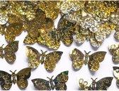 Decoratie confetti gouden vlinders 60 gram - hobby materialen artikelen mini vlindertjes