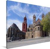 Historische gebouwen in Maastricht Canvas 40x30 cm - klein - Foto print op Canvas schilderij (Wanddecoratie woonkamer / slaapkamer) / Europese steden Canvas Schilderijen