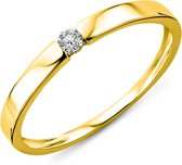 Majestine Solitair Ring 14 Karaat Geelgoud (585) met Diamant 0.05ct maat 56