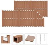 vidaXL Schuttingset 4 vierkant en 1 schuin 842x185 cm HKC bruin