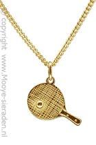 Gouden Tafeltennisbat groot met bal ketting hanger