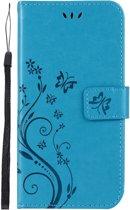 Shop4 - Samsung Galaxy A10 Hoesje - Wallet Case Vlinder Patroon Blauw