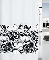 SPIRELLA Sixty douchegordijn polyester bloemmotieven 180 x 200 cm   WIT ZWART