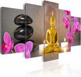 Schilderij - Golden Buddha and orchids