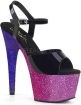 Pleaser Sandaal met enkelband -38 Shoes- ADORE-709OMBRE Zwart/Paars