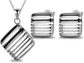 Fashionidea - schitterend mooie zilverkleurige ketting met passende oorbellen de Perfect Square Set Silver