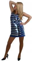 Blauw pailletten jurkje voor dames 38 (m)