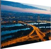 Wenen bij nacht Aluminium 90x60 cm - Foto print op Aluminium (metaal wanddecoratie)