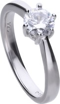 Diamonfire - Zilveren ring met steen Maat 19.0 - Steenmaat 6.25 mm - Chatonzetting