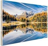 Weerspiegeling in het water bij de Alpen Hout 80x60 cm - Foto print op Hout (Wanddecoratie)