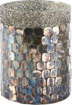 Rivièra Maison Sparkling Mosaic Hurricane - S - Windlicht - Glas - Zilver