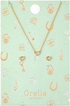 Orelia giftset - ketting kort en oorbelletjes met open hartje - goudkleurig - 40,5 cm + 5 cm verlengstuk
