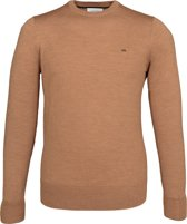 Calvin Klein superior wool crew neck pullover - heren trui wol - caramel bruin -  Maat L