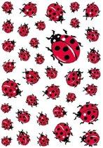 111x Lieveheersbeestje dieren stickers - kinderstickers - stickervellen - knutselspullen