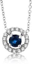 Majestine 9 Karaat Collier Witgoud (375) met Diamant 0.048ct en Blauwe Saffier - Ketting 42cm