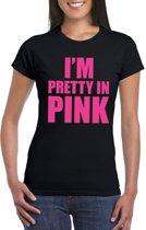 I am pretty in pink shirt zwart dames L