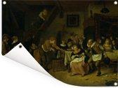 De Boerenbruiloft - Schilderij van Jan Steen Tuinposter 160x120 cm - Tuindoek / Buitencanvas / Schilderijen voor buiten (tuin decoratie) XXL / Groot formaat!