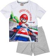 Super Mario Bros Pyjama met korte mouw - wit - Maat 140