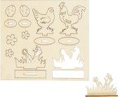 DIY Houten figuren, kippen en bloemen, l: 15,5 cm, b: 17 cm, triplex, 1doos, dikte 3 mm