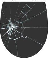 SCHÜTTE WC-Bril 82585 BROKEN GLASS - High Gloss - Duroplast - Soft Close - Afklikbaar - RVS-Scharnieren - Decor - 1-zijdige Print