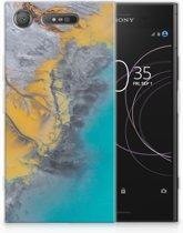 Sony Xperia XZ1 TPU Hoesje Design Marble Blue Gold