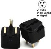 TravelBuddy Reisstekker - Type D – EU naar India - Sri Lanka - Tanzania - Nepal - Plug - Universele reis stekker - Verloopstekker - Wereldstekker - Oplader - Adapter - Zwart