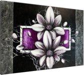 Schilderij handgeschilderd Bloemen | Paars , Grijs , Zwart | 120x70cm 1Luik