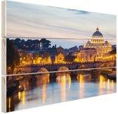 Rome in de avond Hout 120x80 cm - Foto print op Hout (Wanddecoratie)