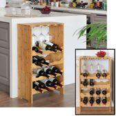 Groot wijnrek van bamboe hout voor 16 flessen wijn en 8 wijnglazen - Design wijnflessenrek / flessenrek met wijnglashouder - Decopatent®