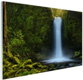 Jungle waterval Glas 90x60 cm - Foto print op Glas (Plexiglas wanddecoratie)