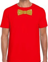 Rood fun t-shirt met vlinderdas in glitter goud heren S