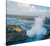 Luchtfoto van de Niagarawatervallen Canvas 180x120 cm - Foto print op Canvas schilderij (Wanddecoratie woonkamer / slaapkamer) XXL / Groot formaat!