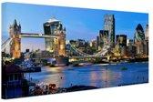 Skyline en tower bridge in Londen Canvas 30x20 cm - klein - Foto print op Canvas schilderij (Wanddecoratie woonkamer / slaapkamer) / Steden Canvas Schilderijen