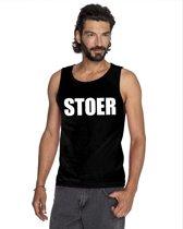 Stoer tekst singlet shirt/ tanktop zwart heren XL